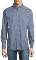 Eleventy Floral Cotton Button-Down Shirt