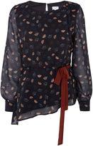 Linea Regan fan print tie side blouse
