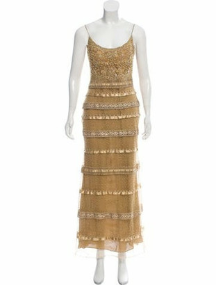 Naeem Khan Embellished Sheath Gown Tan