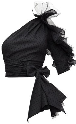 Alexandre Vauthier Ruffled One-shoulder Swiss-dot Top - Black