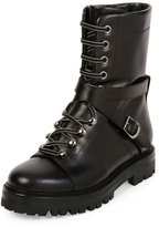 Valentino Rockstud Leather Combat Boot, Nero
