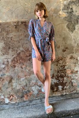 Urban Outfitters Alice Floral Button-Through Playsuit - Blue XS at