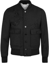 Alexander Mcqueen Charcoal Moth-embroidered Wool Jacket