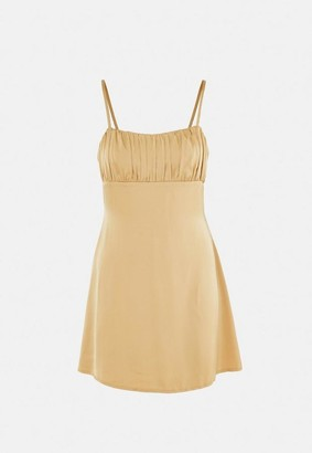 Missguided Gold Satin Ruched Bust Skater Mini Dress