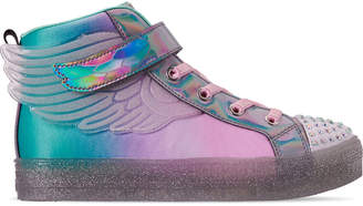 Skechers Girls' Little Kids' Twinkle Toes: Shuffle Brights - Sparkle Wings Light Up High Top Casual Shoes