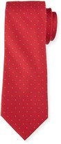 Neiman Marcus Dot-Print Silk Tie, Red