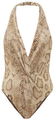Mara Hoffman Gabriela Snake-print Ruched-front Swimsuit - Cream Print