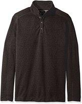 Van Heusen Men's Big and Tall Solid Button Mock Sweater Fleece