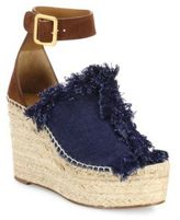 Chloé Suede & Frayed Denim Espadrille Wedge Platform Sandals