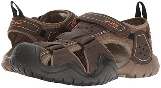 Crocs Swiftwater Leather Fisherman (Espresso/Walnut) Men's Sandals