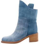 Chanel Denim Square-Toe Booties