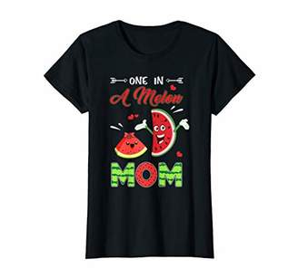 Womens One In A Melon Mom Shirt Funny Watermelon T-Shirt