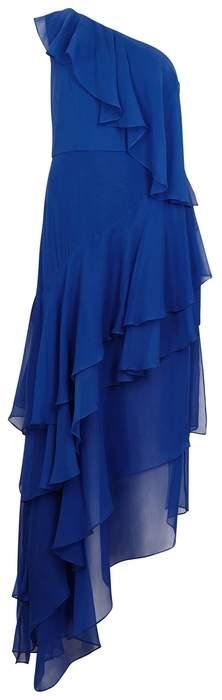 Alice + Olivia Alanis Asymmetric-ruffled Silk Dress