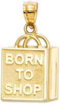 """Macy's 14k Gold Charm, """"Born to Shop"""" Shopping Bag Charm"""