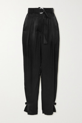 3.1 Phillip Lim - Belted Pleated Satin Tapered Pants - Black