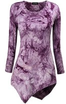 KorMei Women's Long Sleeve Hankerchief Hem Tie Dye Tunic Top