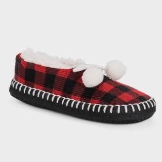 Muk Luks Women's Buffalo Check Ballerina Slipper Socks with Pom Poms - Red/Black