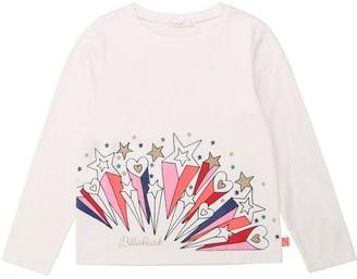 Billieblush Girls Long Sleeve Glitter Print T-Shirt - Ivory