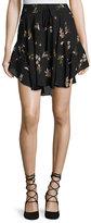 A.L.C. Ceri Floral Silk Drawstring Mini Skirt, Black/Multicolor