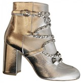 Chanel Silver Patent leather Ankle boots