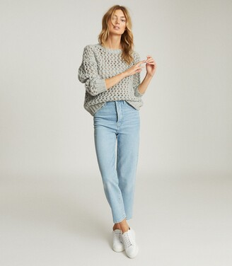 Reiss Natalie - Open-knit Oversized Jumper in Grey