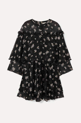 Paul & Joe Layered Floral-print Silk-chiffon Mini Dress - Black