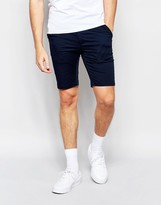 Asos Extreme Super Skinny Chino Shorts In Navy