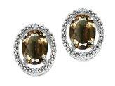 Tommaso design Studio Tommaso Design Oval 8x6mm Genuine Smoky Quartz and Diamond Earrings 14k