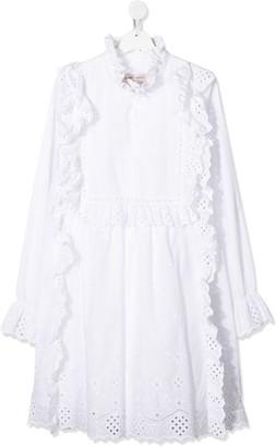 Alberta Ferretti Kids TEEN frill trimmed shirt dress