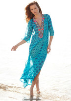 Debbie Katz Ranee Beaded Silk Maxi Tunic Turquoise