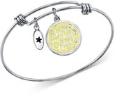 "Unwritten Happy Place"" Charm Adjustable Bangle Bracelet in Stainless Steel with Silver-Plated Charms"