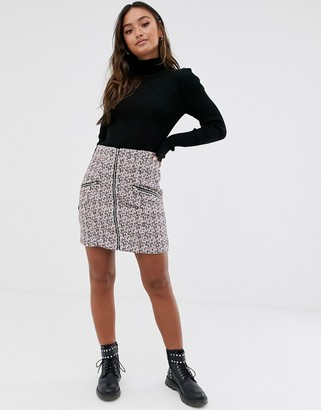 Asos Design DESIGN boucle mini skirt with zip front and pockets-Pink