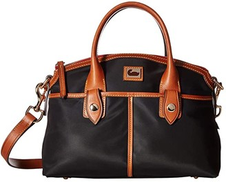 Dooney & Bourke Camden Domed Satchel (Black/Dark Chocolate Trim) Satchel Handbags