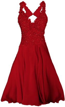 Angelika Jozefczyk Elegant Lace Dress With Crystals Red Mini