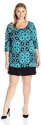 Notations Women's Plus-Size 3/4 Sleeve Printed Shift Dress