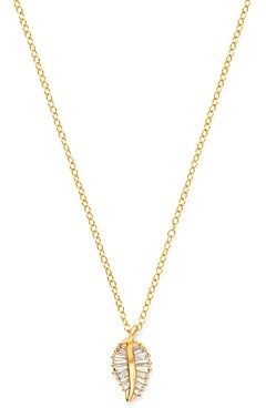 Bloomingdale's Diamond Baguette Leaf Pendant Necklace in 14K Yellow Gold - 100% Exclusive