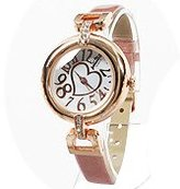 Bel Air Bel-Air Wrist Watch Women's Heart & Stone Face Wrist Watch Leather Belt Pink Gold & Pink