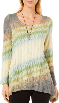 One World ONEWORLD Women's Long Sleeve Tie Dye Top with Attached Necklace