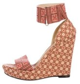 Stuart Weitzman X Theodora Callum Canvas Wedge Sandals