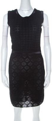 Chanel Black Silk Crochet Lace Overlay Sleeveless Sheath Dress S