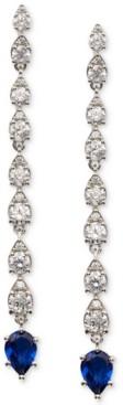 Eliot Danori Elliot Silver-Tone Cubic Zirconia & Stone Linear Drop Earrings, Created for Macy's