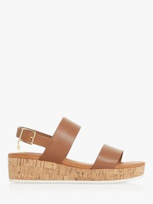 Dune Lenniie Leather Wedge Sandals, Tan