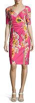 Adrianna Papell Printed Side Drape Sheath Dress