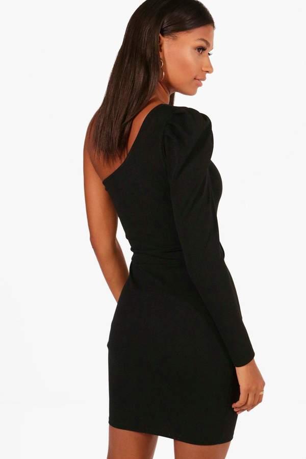 boohoo Erin One Shoulder Bow Waist Bodycon Dress