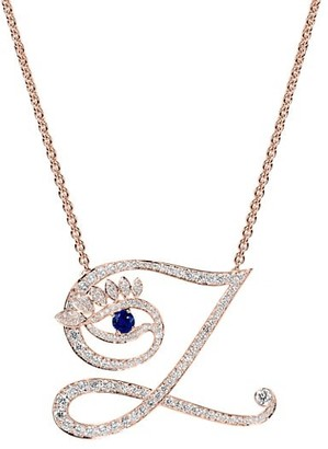 Tabayer Eye 18K Rose Gold, Diamond Sapphire Zen Pendant Necklace