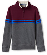 Classic Little Boys Quarter Zip Mock Neck Top-Red Orange Stripe