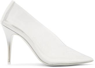 Stella McCartney Transparent and White Logo Heels