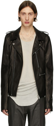 Rick Owens Black Leather Tecuatl Stooges Jacket