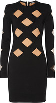 Balmain Mesh paneled stretch-knit mini dress