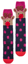 Joules Fab Fluffy Reindeer Knee High Socks, French Navy/Multi
